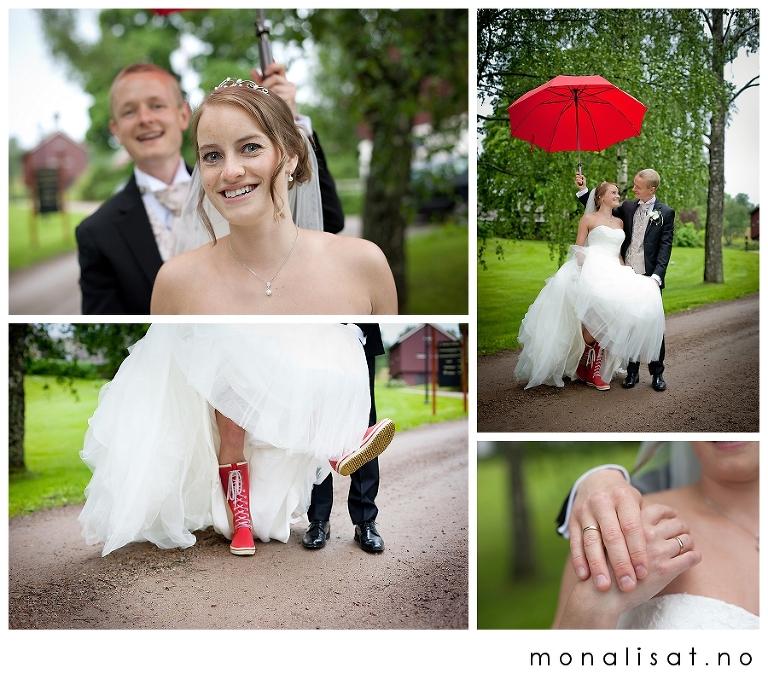 bryllupsfotografering i regnvær