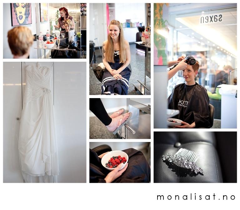 Bryllupsfotograf Mona-Lisa T. Forberedelser hos frisør